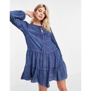 Wednesday's Girl Mini Smock Dress Tiered Skirt